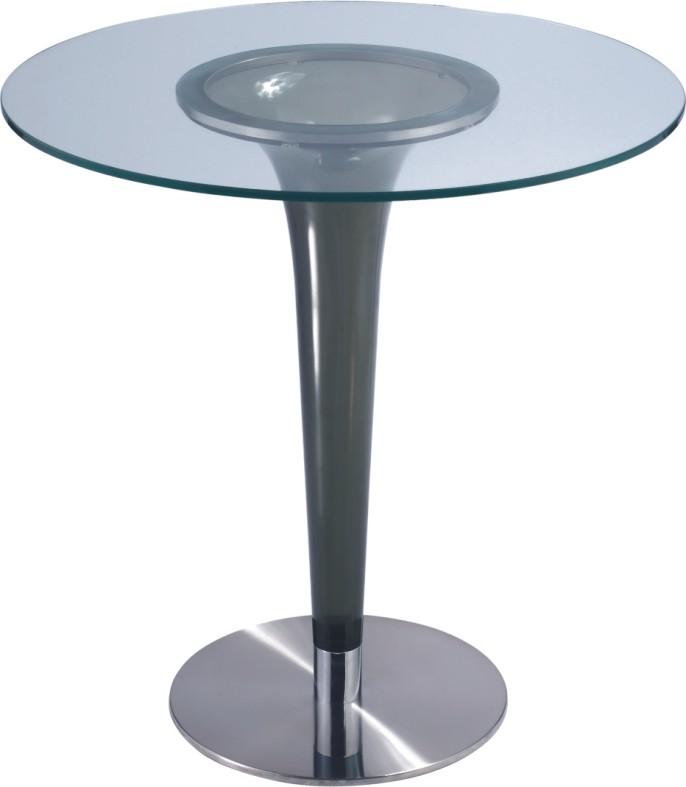 Fashion style luxury glass round bar table pub dining for Luxury glass dining tables