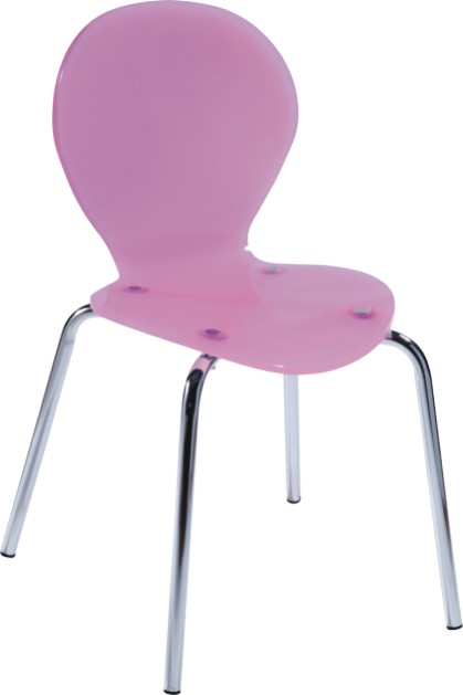 Luxury Cute Pink Seat Chromed Base Baby Side Chair Dining Room Kitchen Furnit