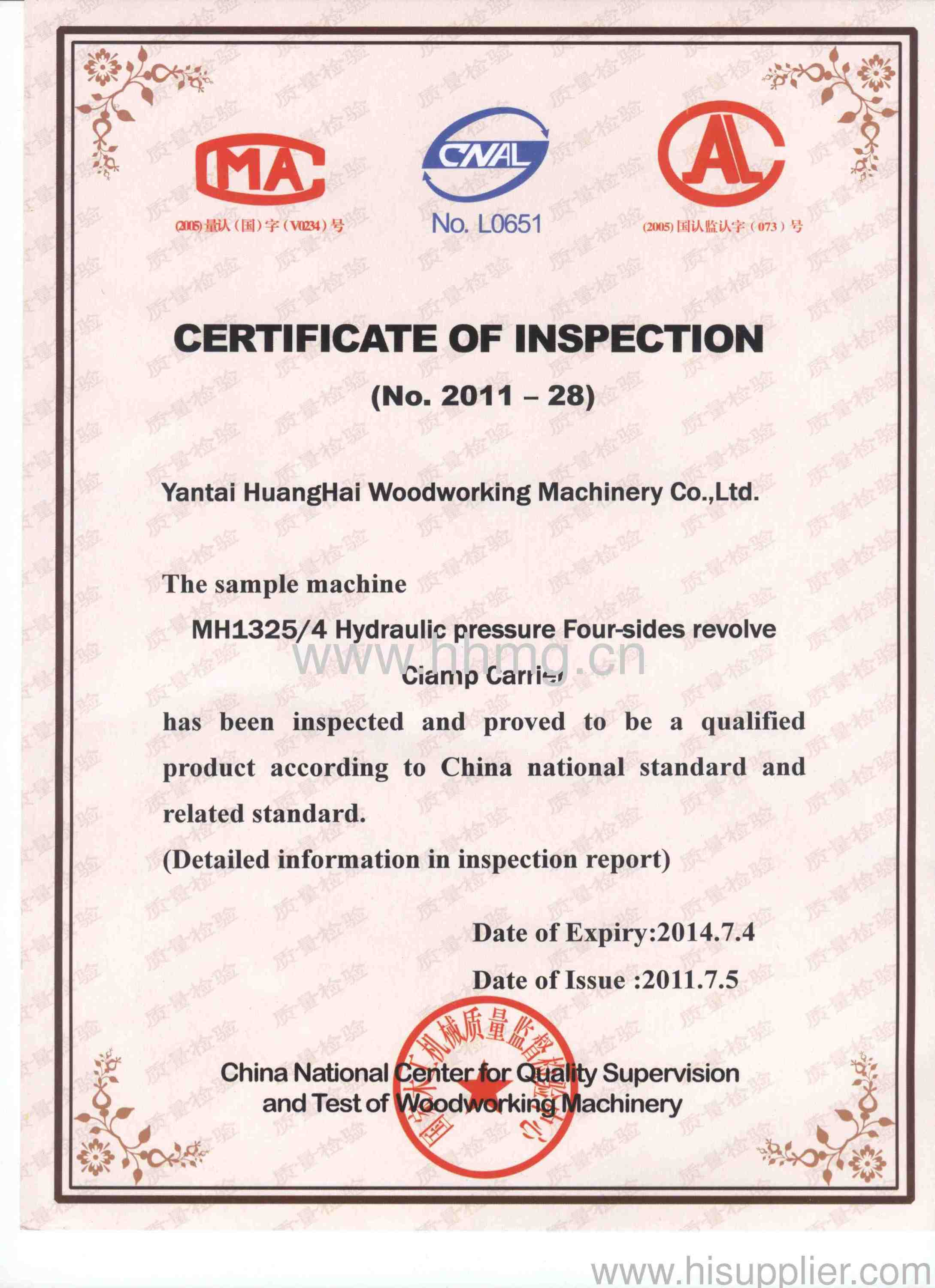 CERTIFICATE INSPECTION - HUANGHAI WOODWORKING MACHINERY CO.,LTD