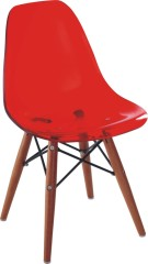 High Quality Red Baby Wood Base Plastic Seat Side Chair Dining Indoor Chairs