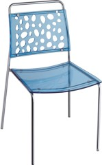 Blue Crystal Plastic Dining Side Chair Hollow Style Back Office Furniture Chairs