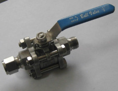 Stainless steel three piece ball valve