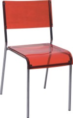 Red Crystal Plastic Dining Chair Chromed Frame Outdoor Home Furniture Chair Store