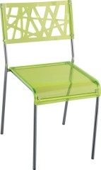 Fresh Green Hollow Crystal Plastic Dining Chair Kitchen Room Side Chairs Outdoor Furniture
