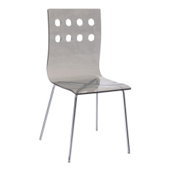 Fashion Style Hollow Back Grey Crystal Plastic Dining Chair Furniture By Room Side Chairs