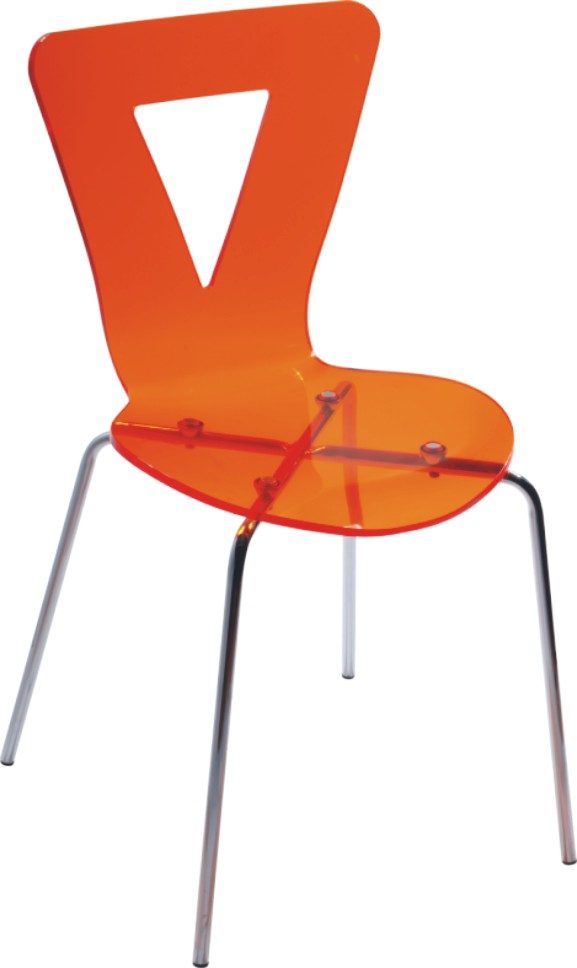 Modern Orange Crystal Plastic Dining Chair Kitchen Room
