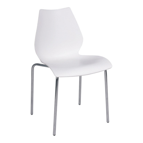 Fashion Clear white PP Stable Maui hair Side Chair Plastic Seat Chromed Legs Dining Room furniture Chairs