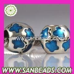 925 Sterling Silver Blue Enamel Butterfly European Bead Charms