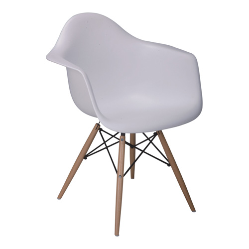 modern white eames daw chair with wood base armchair dining reception the arm chairs room. Black Bedroom Furniture Sets. Home Design Ideas
