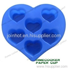 6 heart shape cups in one heart shape sheet Silicone cake mold