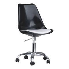 Modern Black Wheeled Gas Lift Tulip Office Chair swivel office desk chairs seating ergonomic furniture store
