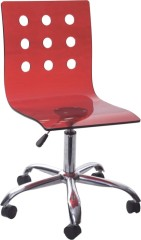 Fashion red wheeled Gas Lift Acrylic Office Chair computer desk ergonomic furniture side chairs wholesale