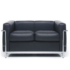 Modern Black leather LC 2 Petit Comfort tweezits le Corbusier sofa settee contemporary sofas