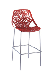 Gorgeous Modern design Red hollow PP Hot Sales Bar Chair pub bistro counter height bar stools chairs