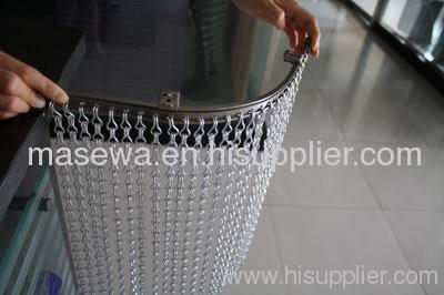 Aluminum divider silver chain link mesh