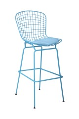 Modern blue Powder Coated and PVC removable Cushion Bar Chair footrest barstools counter coffee side chairs bar stools
