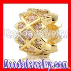 Gold european Charm Bead