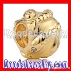 Gold european Fish Charm Bead