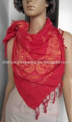 red cotton woven scarf, printed flowers