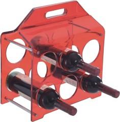 Modern red plastic standing 6 bottles wine racks crystal arylic home wine storage rack