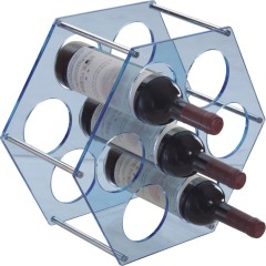 Modern plastic sky blue hexagon Wine Rack 7 bottles storage homeware wineracks