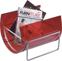 Fashion red Plastic Book Orginzer rack magazine holder Acrylic with chromed steel magazine frame