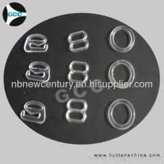 Clear plastic bra buckles