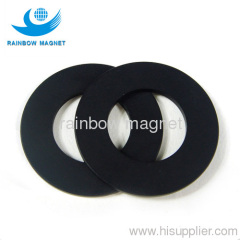 Permanent neodymium Iron Boron ring magnets black epoxy coat