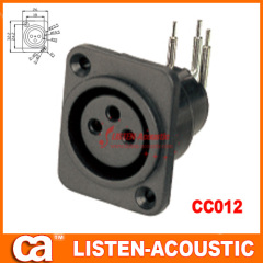 female connector XLR 3holes 3pins plug pins