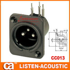 male connector XLR 3holes 3pins plug pins