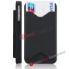 Wholesale ID Credit Card Holder Hard Back Cover for iPhone 4S with Anti-Dust Button(Black)