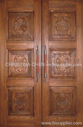 veneer entrance door. carved solid wooden door