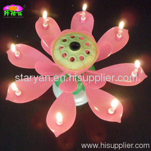 Large Rotating Lotus Flower Musical Birthday Candles