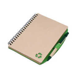 Notebook with recycled ballpens