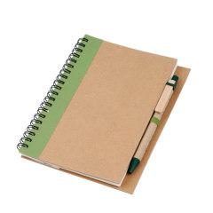 kraft spiral notebook with ballpen