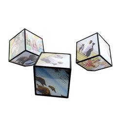 Rotating photo frame cubes