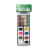 Watercolor paint and wax crayon set with brush