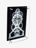 glass wall clock with white toothed wheel