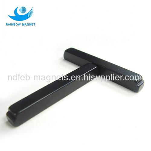 NdFeB irregular bar magnet with black epoxy coating
