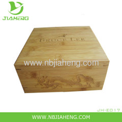 Small Laser Engraved Bamboo Tea Jewelry Box Koi