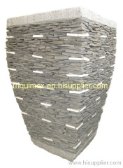 Natural stacked stone mosaic flower pot