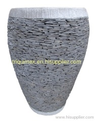 Natural stacked stone round flower pot