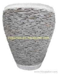 Natural stacked stone vase