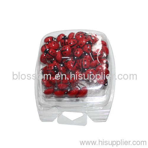 Whimsical plstic ladybug shape push pin & thumb tacks
