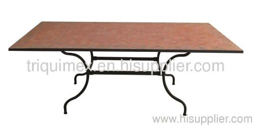 Table gt wrought iron and ceramic mosaic rectangular dining table