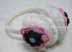 White Acrylic Earmuff with Flowers
