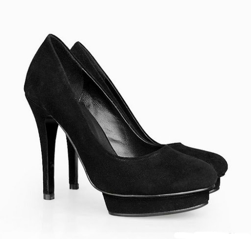 Sexy black faux suede party shoes