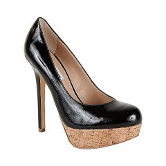 black color dress shoes with wooden texture heel
