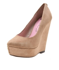 Nude faux suede round toe wedge heel ladies shoes