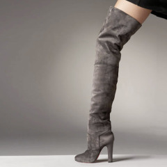 Fashion grey high heel suede boots